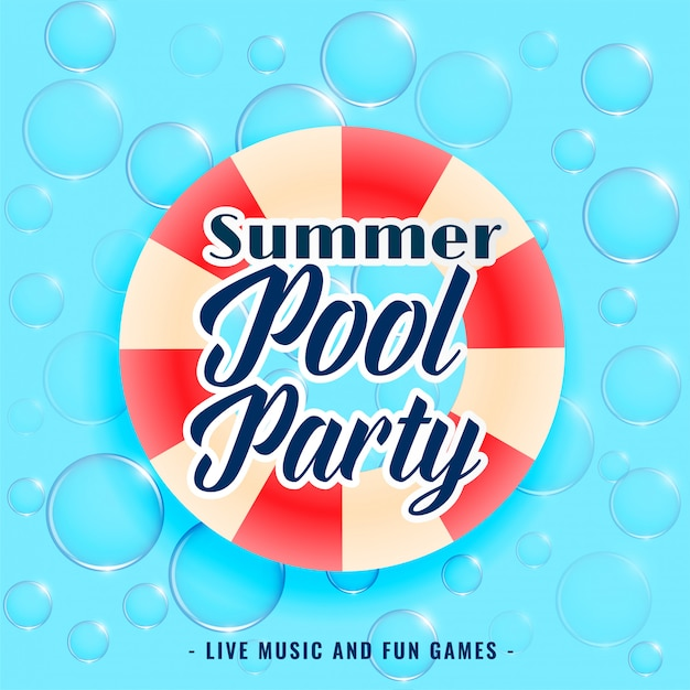Summer pool party bubbles background Free Vector