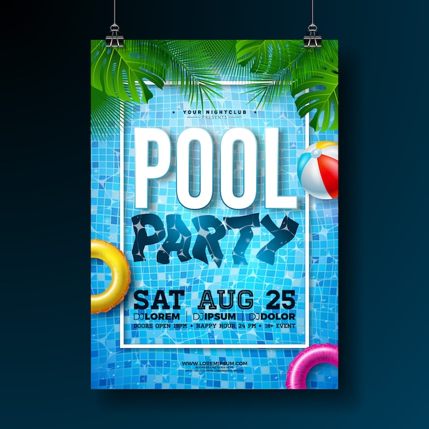 Summer pool party poster or flyer design template with palm leaves and beach ball Free Vector