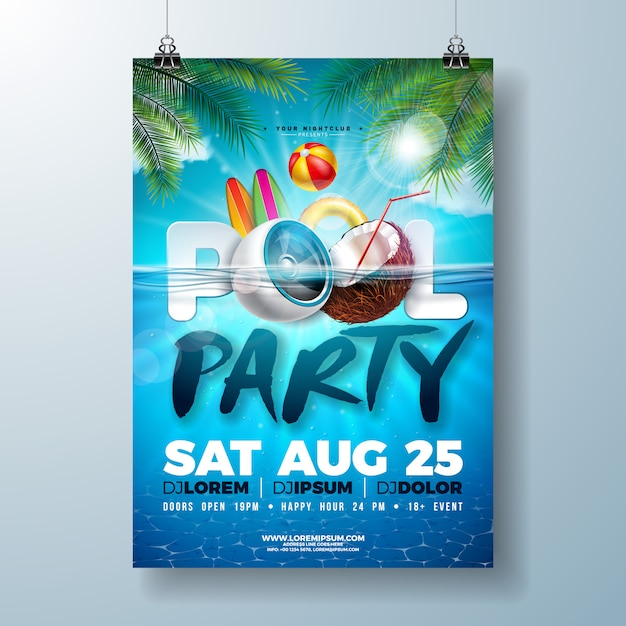 Summer pool party poster or flyer design template with speaker and coconut Premium Vector