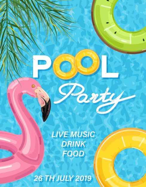 Summer pool party poster with flamingo Premium Vector