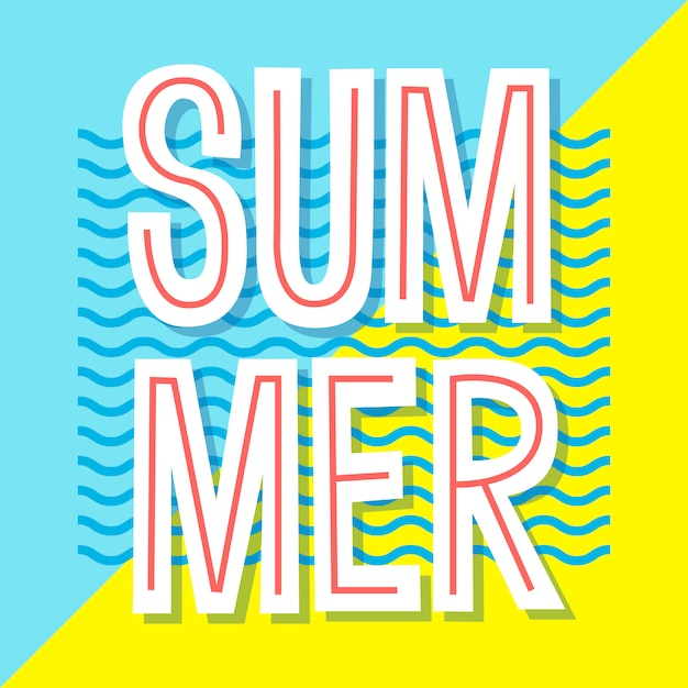 Summer poster.  banner . typographic illustration for greeting cards, invitation, prints, flyers. Premium Vector
