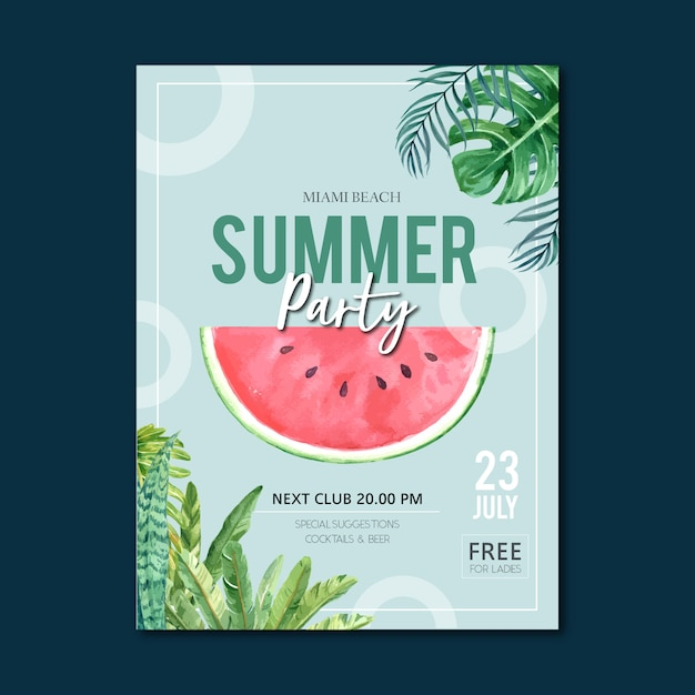 Summer poster holiday party on the beach sea sunshine nature. Free Vector