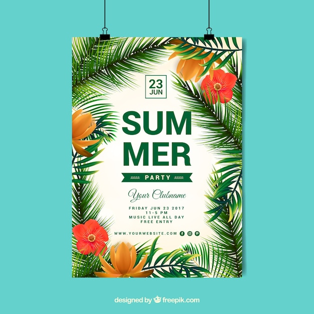 Summer poster palm tree design Free Vector