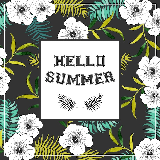 Summer poster with tropicals flowers. Premium Vector