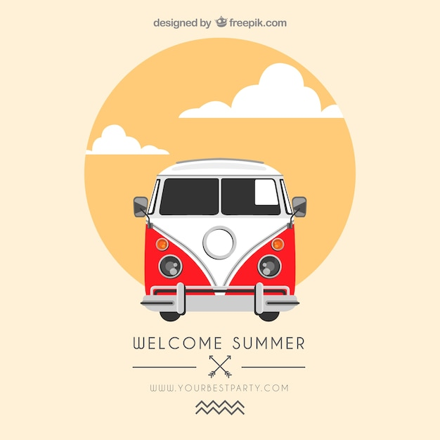 Summer poster with a van Free Vector