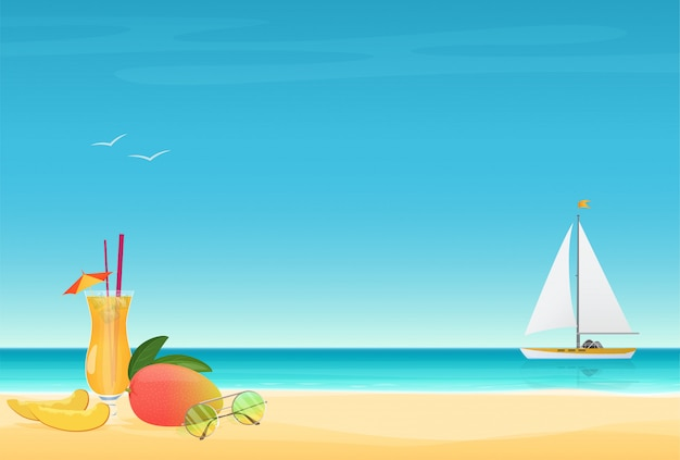 Summer poster with yacht Premium Vector