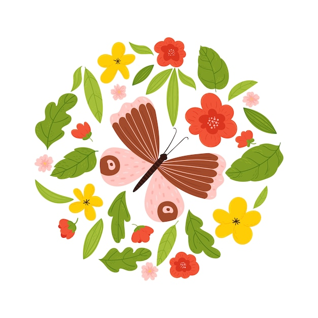 花と葉の輪に蝶と夏のプリント。白い背景のイラスト。 Premiumベクター