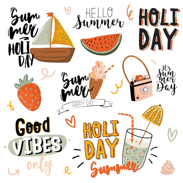 Summer print with cute holiday elements and lettering  on white background. hand drawn trendy style. . good for fabric , labels, tags, web, banner, poster, card, flyer Premium Vector