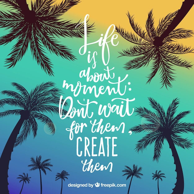Summer Quote Background With Palm Trees Vector Free Download