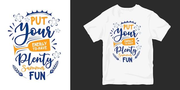 여름 따옴표 타이포그래피 핸드 레터링 티셔츠 디자인 프리미엄 벡터