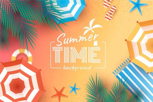 ビーチと夏の現実的な壁紙 無料ベクター