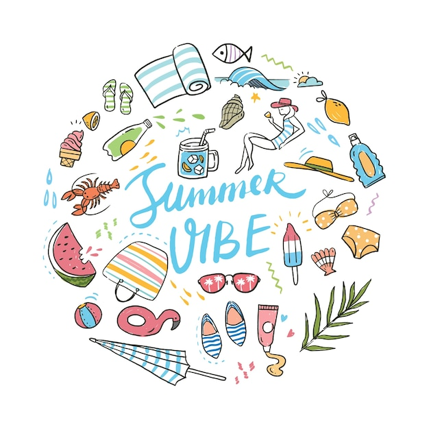 Summer related objects Premium Vector