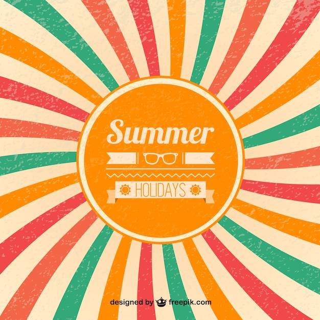 Summer retro sunburst background Vector | Free Download