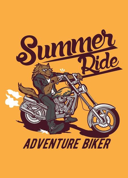 Summer ride wolf Premium Vector