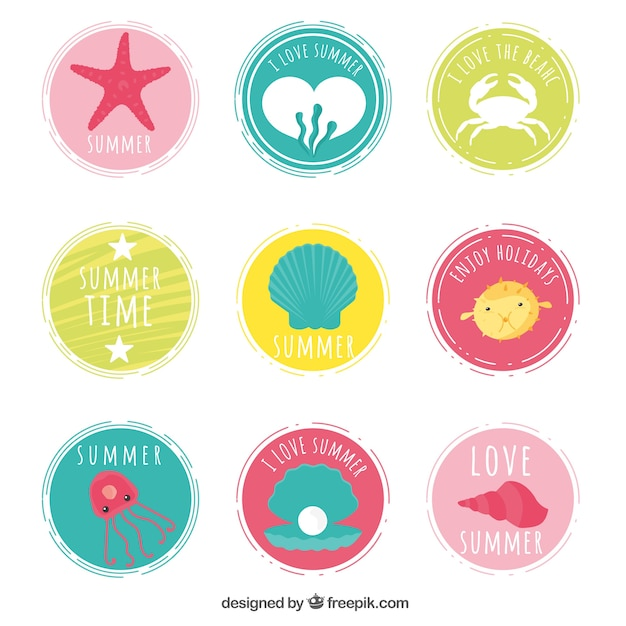 Summer round stickers collection free vector