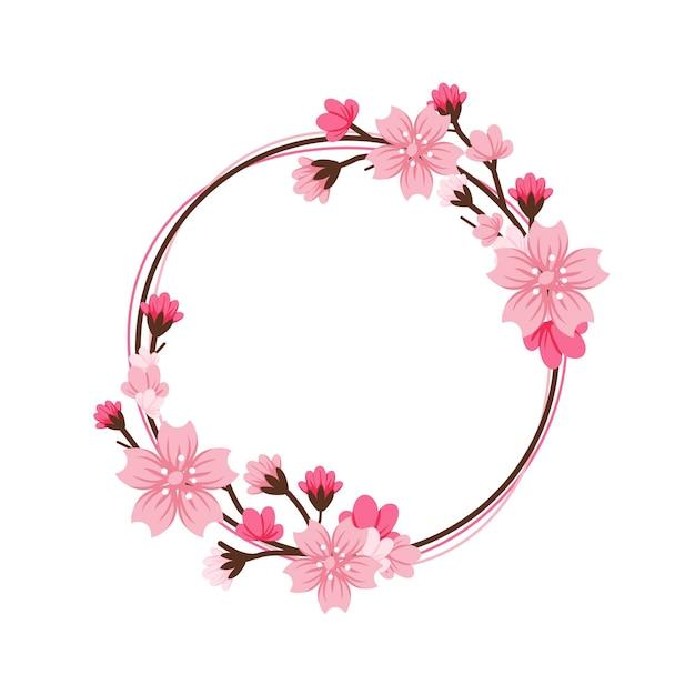Summer sakura flower frame Free Vector