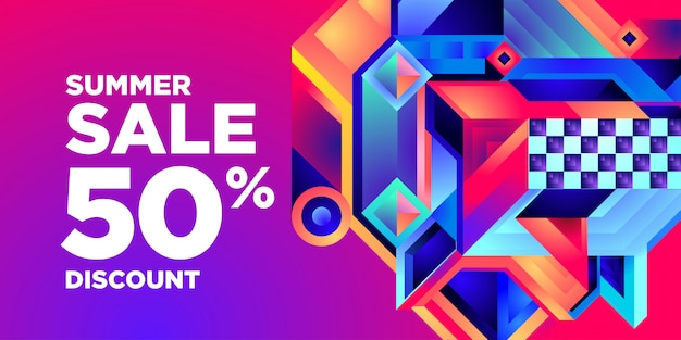 Summer sale 50% discount colorful abstract geometric banner Premium Vector