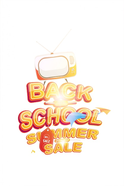Summer sale 50 offer for back to school Premium Vector