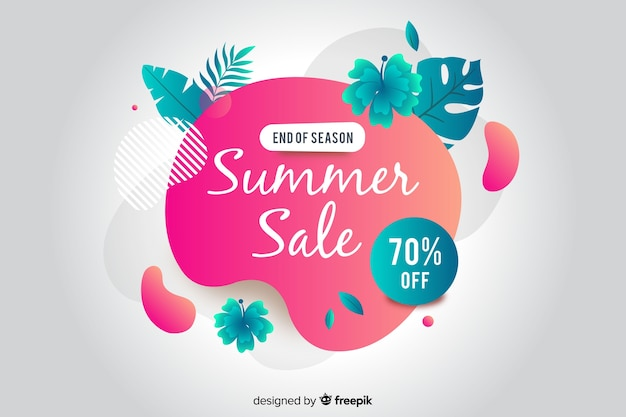 Summer sale abstract liquid banner Free Vector
