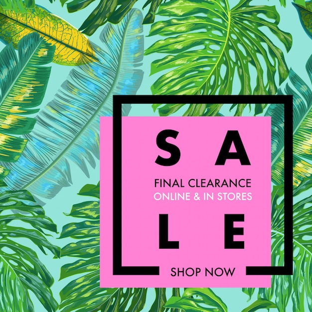 Summer sale ad tropical banner with palm leaves Premium Vector