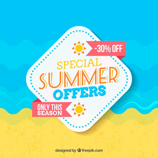 Summer sale background in flat design Free Vector