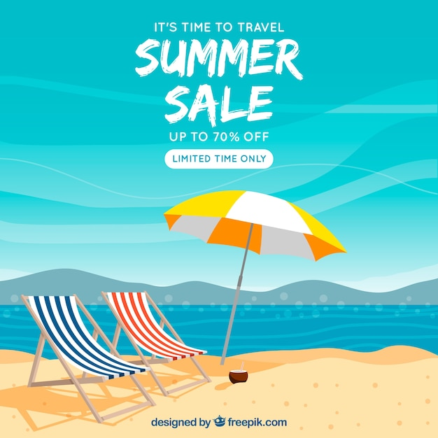 Summer sale background with beach\ landscape