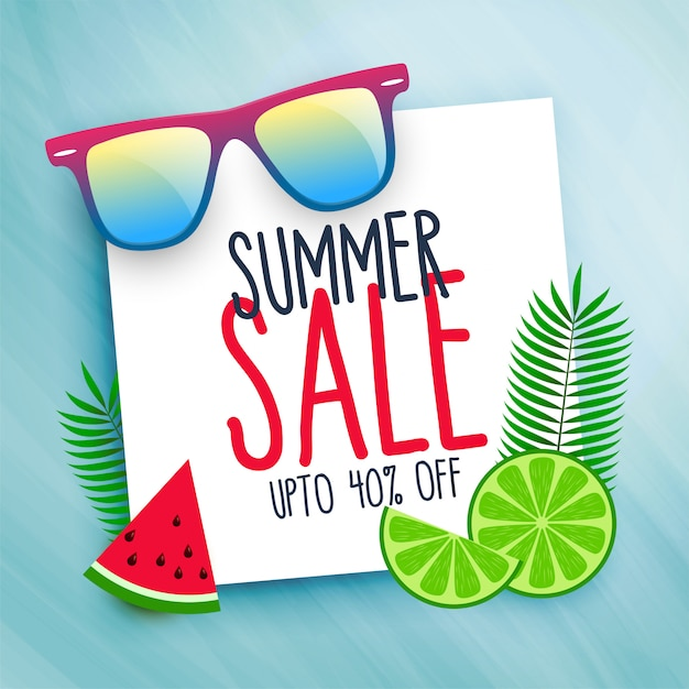 Summer sale background with  elements Free Vector