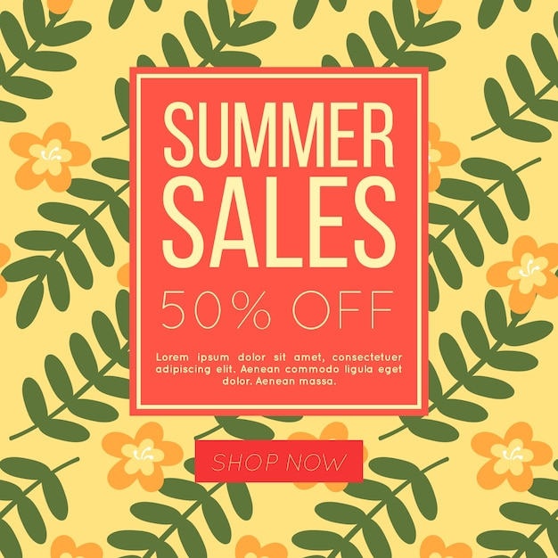 Summer sale background with flowers and\ leaves