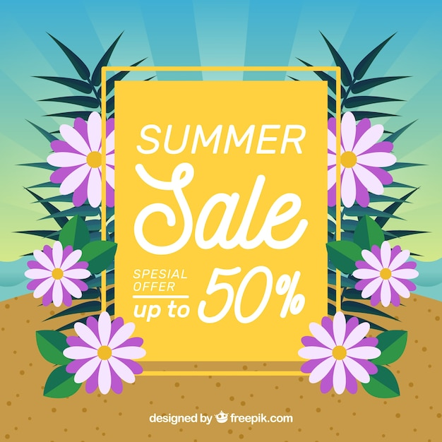 Summer sale background with flowers on the\ beach