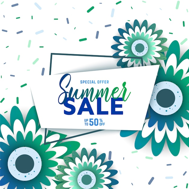 Summer sale background with flowers Premium Vector