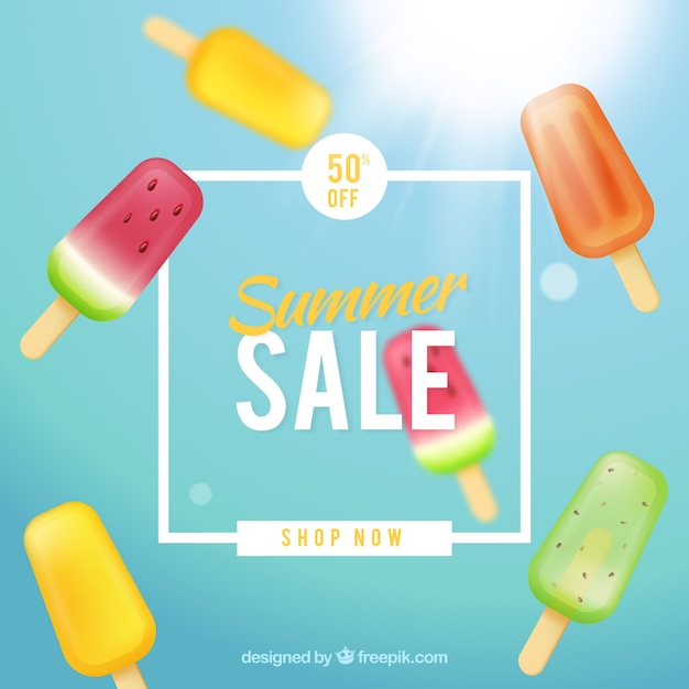 Summer sale background with ice creams Free Vector