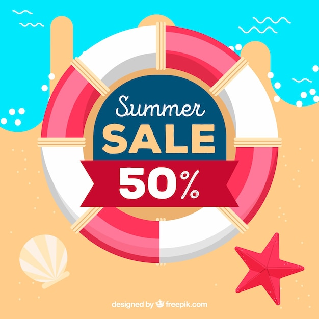 Summer sale background with life belt Free Vector