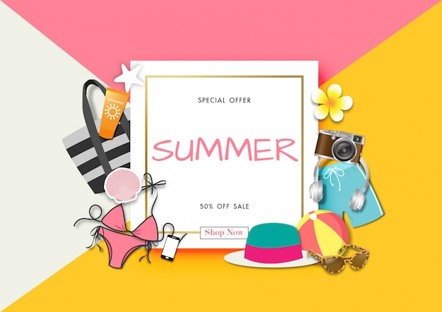 Summer sale background with paper art of summer accessories Premium Vector