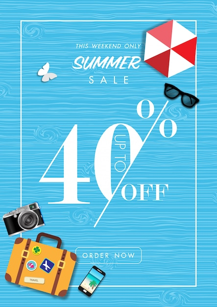 Summer sale background with summer accessories vector Premium Vector