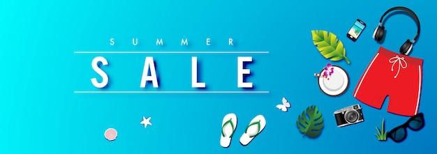 Summer sale background with summer accessories vector Premium Vector