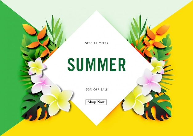 Summer sale background with tropical design vector Premium Vector