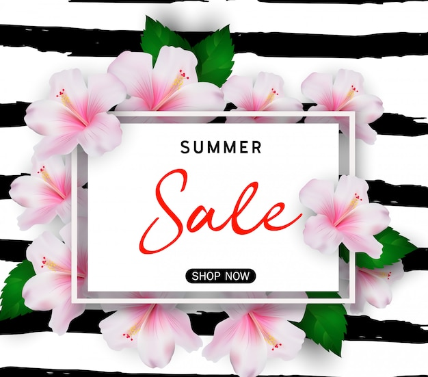 Summer sale background with tropical flowers Premium Vector