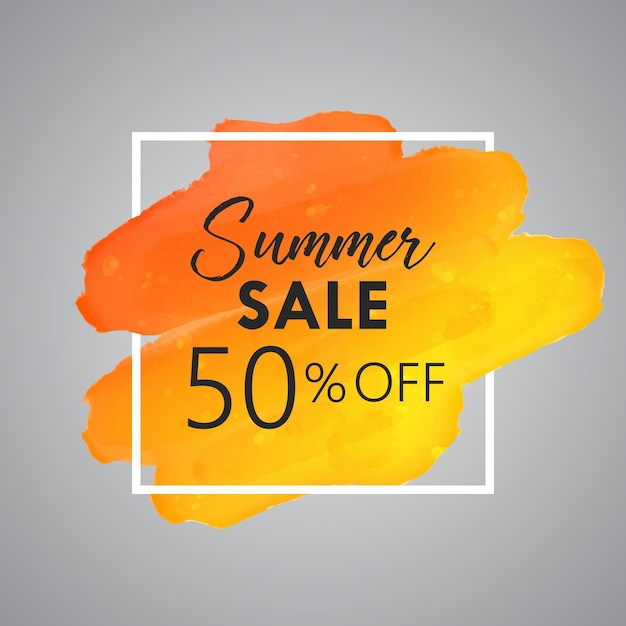 Summer sale background with watercolor detail Free Vector