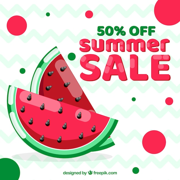Summer sale background with watermelon Premium Vector