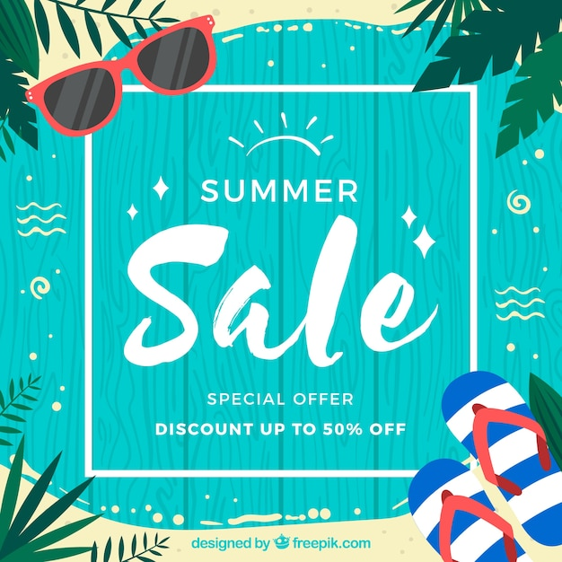 Summer sale background with wooden planks Free Vector