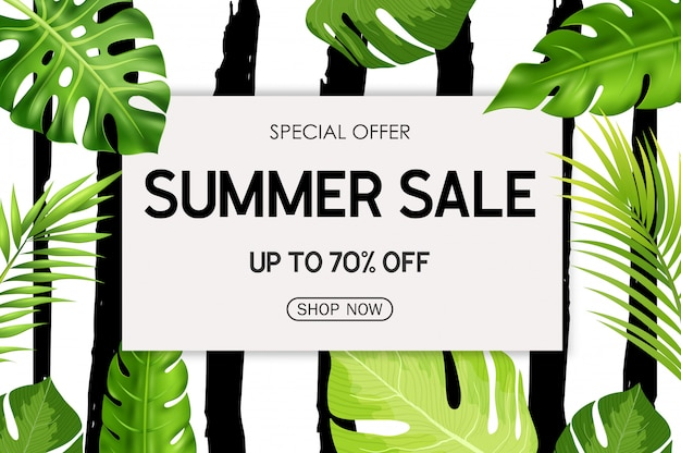 Summer sale banner background with tropical flowers Premium Vector