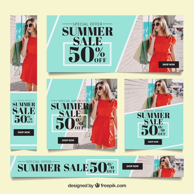 Summer sale banner collection with photo Free Vector