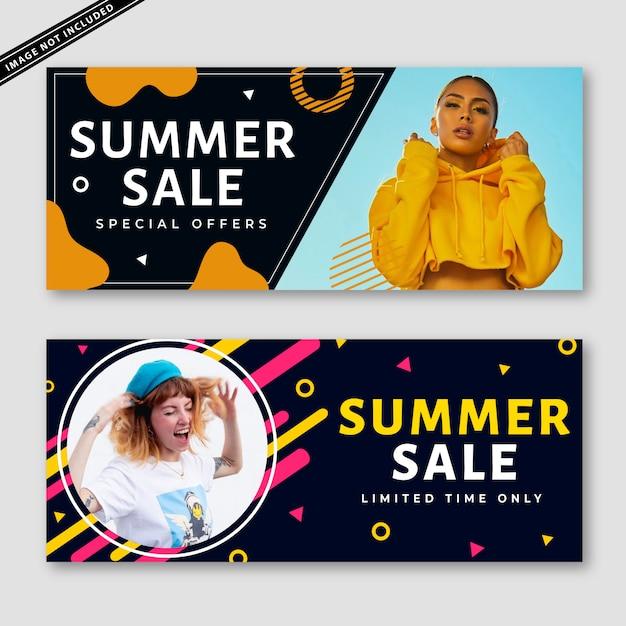 Summer sale banner collection Premium Vector