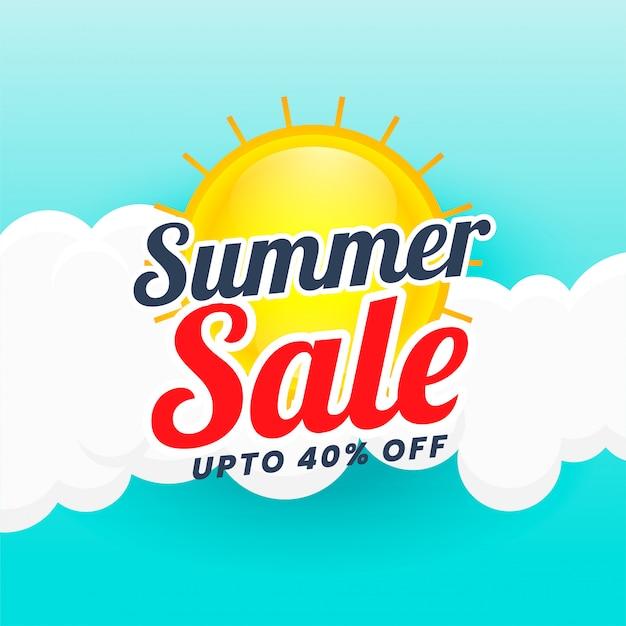 Summer sale banner design background Free Vector