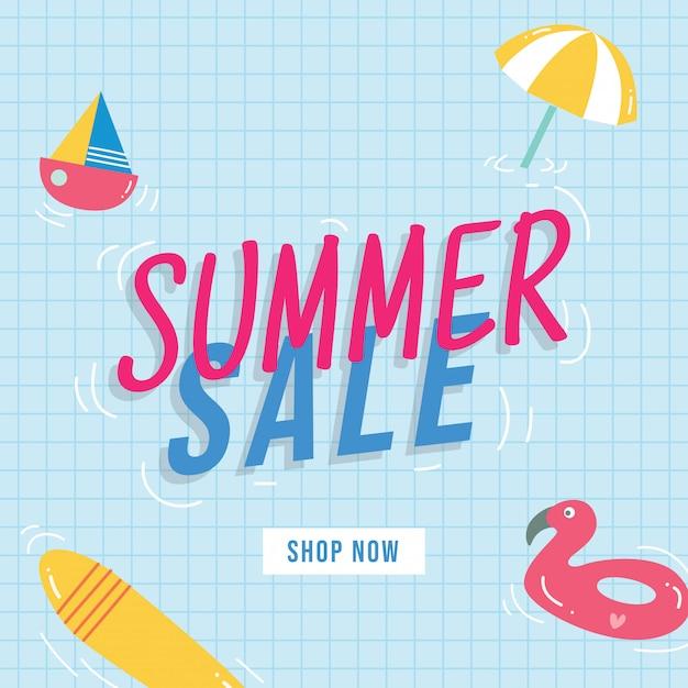 Summer sale banner design with doodle elements Premium Vector