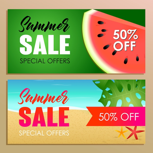 Summer sale banner design with watermelon Free Vector