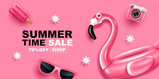 Summer sale, banner layout design,   illustration. Premium Vector