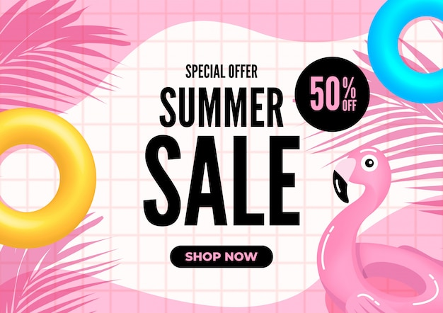 Summer sale banner. pink tiles with palm leaves and pool floats. Premium Vector
