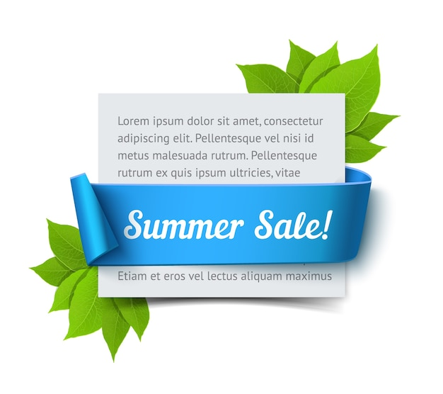Summer sale banner. realistic  paper card with blue ribbon and green leaves