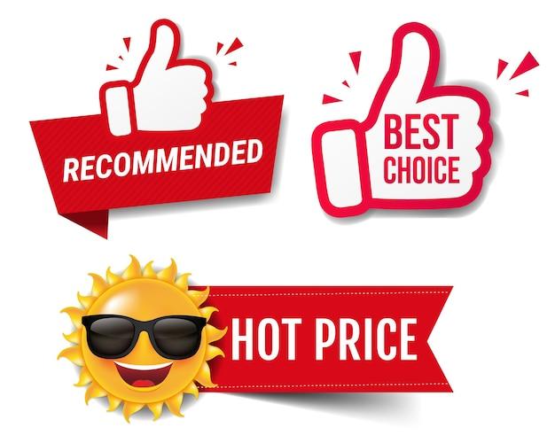 Летняя распродажа баннер рекомендуется с большими пальцами руки вверх на белом фоне с градиентной сеткой, векторные иллюстрации Premium векторы